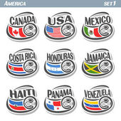 Vector set icons of Flags American National Teams