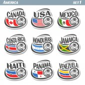 Vector set icons of Flags American National Teams with Soccer ball: teams countries centennial Cup America or copa america centenario north american football national logo flags for soccer tournament