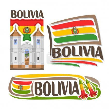 Illustration pour Logo vectoriel Bolivie, 3 images isolées : église de San Felipe Neri à Sucre sur fond national Drapeau national, symbole architectural de l'État bolivien, simple drapeau bolivia près de fleurs de kantuta boliviennes . - image libre de droit