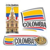 Vector logo Colombia 3 isolated images: Jesus Nazareno church in Medellin on background colombian national state flag symbol of Colombian Republic - hat sombrero vueltiao flags of colombia country