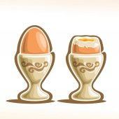 Vector illustration of Soft Boiled Egg in Holder: brown soft-boiled cooked eggs in cap single whole and half open cut egg in cracked shell with yellow yolk and white protein in eggcup - sunny side