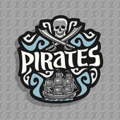 Vector logo for Pirate theme: gray skull and crossed swords moonlight shadow title text - pirates old ship sails on caribbean sea with jolly roger flag pirate clip art on ropes seamless pattern