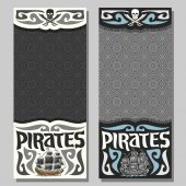 Vector vertical banners for Pirate theme: skull and crossed swords on grey abstract background logo jolly roger 2 invite flyers for title text of kids pirate party old ship sails pirate clip art