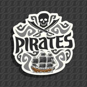 Vector logo for Pirate theme: black skull and crossed sabers curly decoration title text - pirates old ship sails on caribbean sea with jolly roger flag pirate clip art on ropes seamless pattern