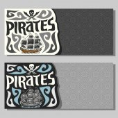 Vector horizontal banners for Pirate theme: skull and crossed sabers on gray abstract background logo jolly roger 2 invite flyers for title text of kids pirate party old sail ship pirate clip art