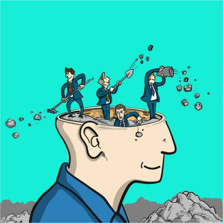 Illustration for Brain cleaning - conceptual vector illustration of to tidy up in head - Royalty Free Image