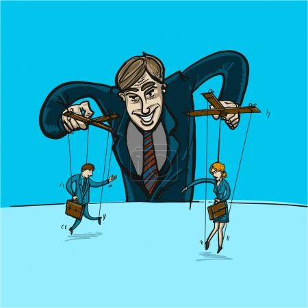businessman playing with man and woman on strings