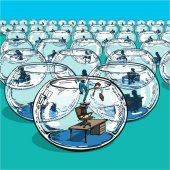 businessman escaping from fishbowls