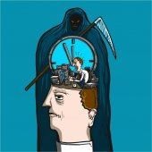 Wasting our time - conceptual vector illustration of businessman and death and clock face in human head