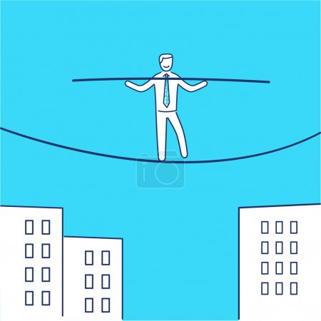 business icon of businessman balancing on rope