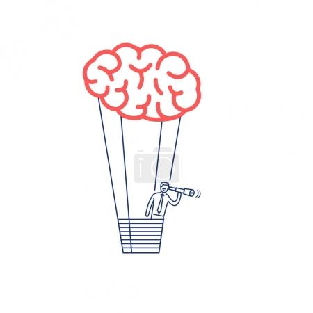 Brain baloon. business illustration of businessman finding new inspiration