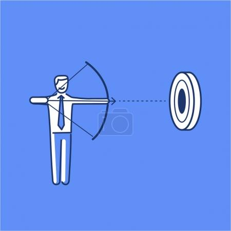 Aiming target. business illustration of businessman with bow