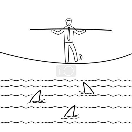 Among sharks. business illustration of businessman balancing