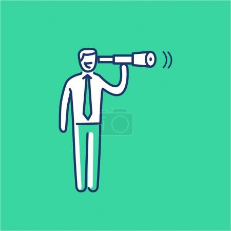 View. business illustration businessman with telescope