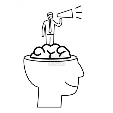 Mind power. business illustration of businessman inside brain
