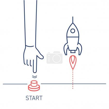 business illustration of hand pushing start button