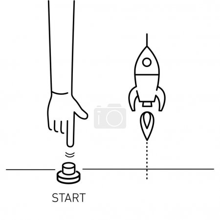 business illustration of hand pushing start button