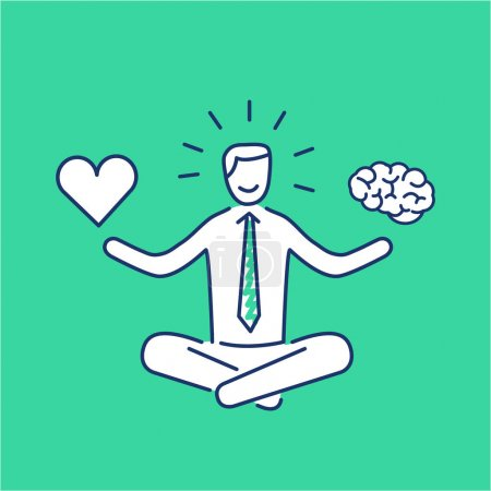 businessman balancing heart and brain