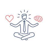 businessman balancing heart and brain