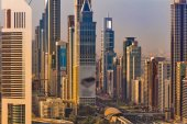A tight view of some skyscrapers and a city skyline of Dubai, UAE