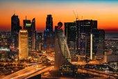 A beautiful Skyline view of Dubai, UAE as seen from Dubai Frame at sunset