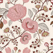 Vector seamless pattern with stylized flowers and plants Decorative style Hand drawn floral wallpaper Floral backdrop for textile web