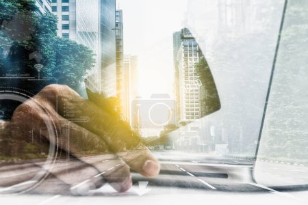 Photo for Double exposure of hand holding credit card with hand for payment online shopping, this lifestyle new generation of people on the world for decorate or design business content or finance concept,copy space,mock up. - Royalty Free Image