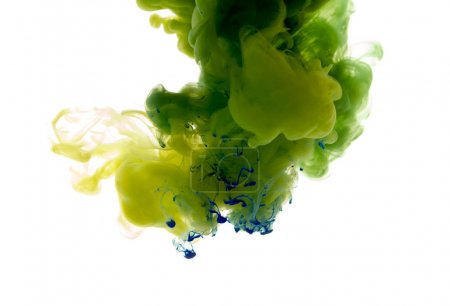 Photo for Colors dropped into liquid and photographed while in motion. Ink swirling in water. Cloud of silky ink in water isolated on white background. Colorful ink in water, an abstract banner. - Royalty Free Image