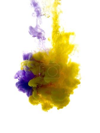Foto de Los colores cayeron en líquido y se fotografiaron mientras estaban en movimiento. Nube de tinta sedosa en agua sobre fondo blanco aislado, una pancarta abstracta . - Imagen libre de derechos