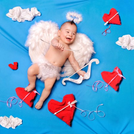 Baby cupid with angel wings