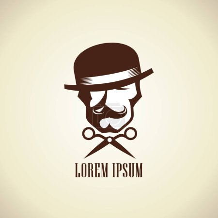 Barber logo concept with scissors and hipster man dressed in hat with a mustache