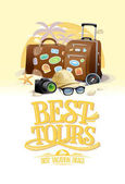 Best tours design concept with two big suitcases sunglasses hat compass and camera against summer beach resort on a backdrop