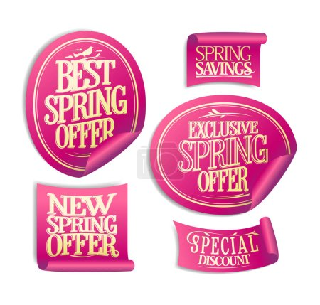 New, best, exclusive spring offer stickers set, spring savings