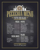 Chalk pizzeria menu list design