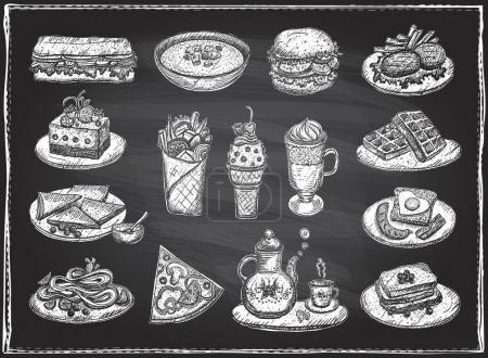 Illustration pour Illustration graphique en craie de divers aliments, desserts et boissons, symboles vectoriels dessinés à la main sur fond de tableau - image libre de droit