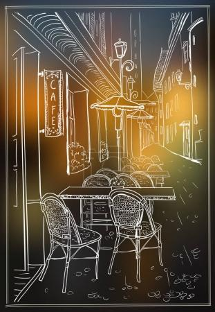 Street cafe in night old town vector sketch