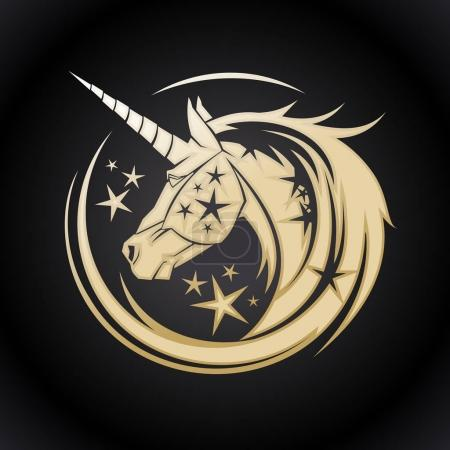 Illustration for Golden unicorn head circle symbol with stars - Royalty Free Image