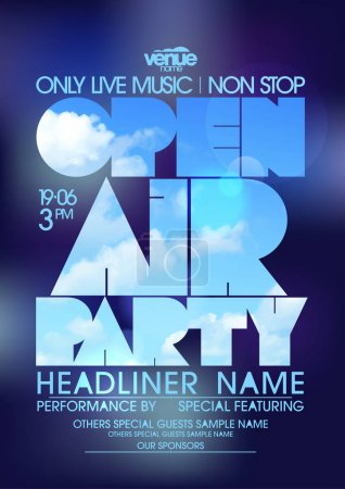 Open air party poster design concept