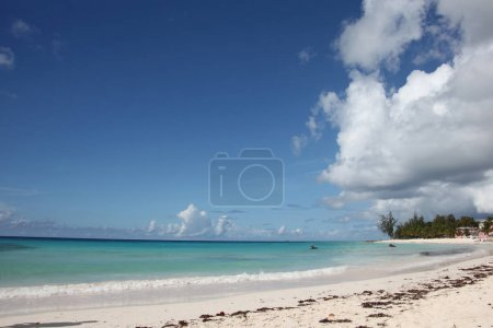 Beautiful landscape of Dover Beach, Barbados. Blue sky, turquoise water & white sand, Caribbean.