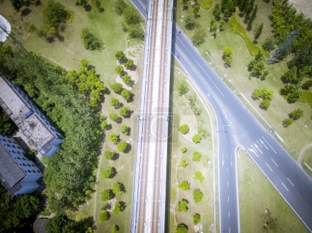 Photo for Wuxi, China, the intersection of urban roads and railway lines - Royalty Free Image