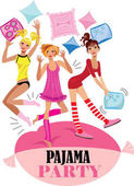 funny girs in pajama party vector design poster for party invitation