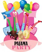 pajama party funny girs vector design poster for party invitation