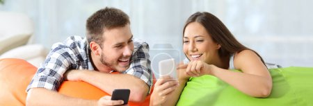 Friends sharing media content on line on phones