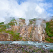 Geyser Valley in the valley with hot springs and f...