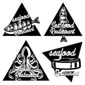 Vintage seafood restaurant emblems