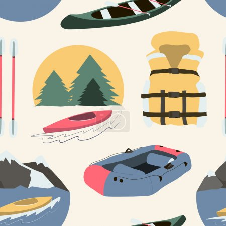 Rafting and kayaking icons collection pattern