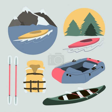 Rafting and kayaking icons collection