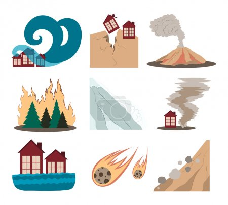 Illustration for Natural disaster icons set with tsunami snow storm thunder isolated vector illustration - Royalty Free Image