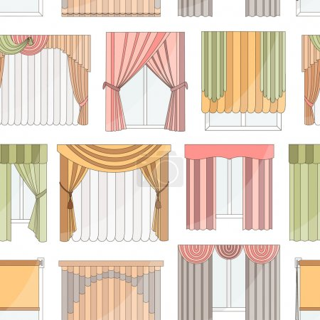 Different curtains and blinds for interior design