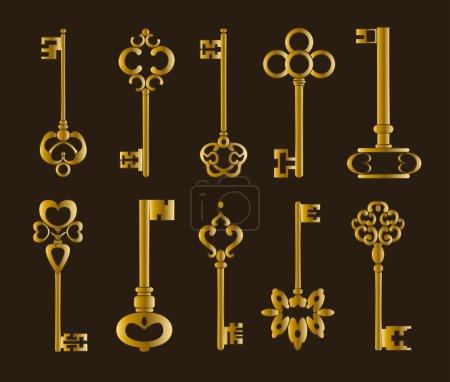 Illustration pour Ornementales touches vintage médiévales avec complexe forgeage, composé d'éléments de la fleur de Lys, rouleaux de feuille de style victorien et volutes en forme de coeur. - image libre de droit